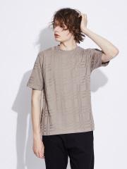 チェック柄 ジャカード 半袖 Tシャツ