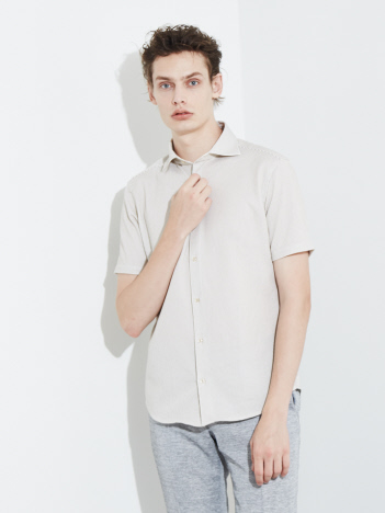 【FLEX/吸水速乾】ラッセルストライプ 半袖シャツ