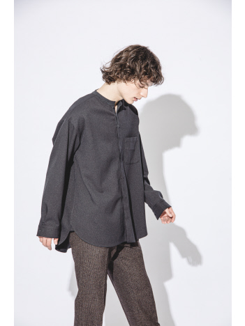 ABAHOUSE - ウールライク サージバンドカラーシャツ