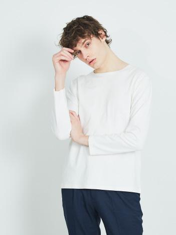 【ノンストレス】圧着クルー ロング Tシャツ
