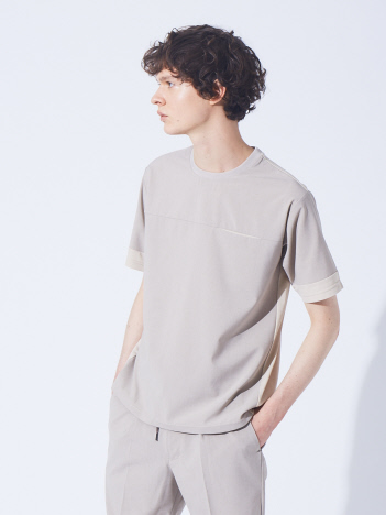 ポリトロ 素材 コンビ 半袖 Tシャツ