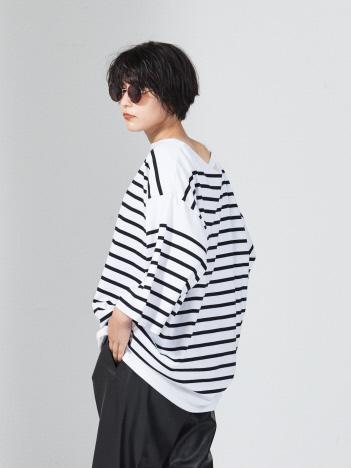 【MONTKEMMEL / モンケメル】別注 ボーダー 7分 ビッグ Tシャツ