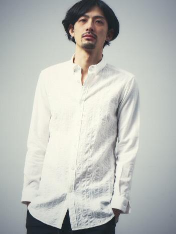 5351POUR LES HOMMES - カラミクロス刺繍オーバーシャツ