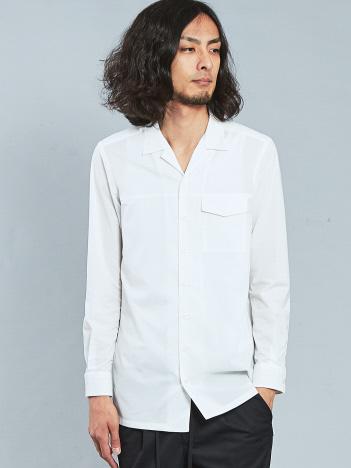 5351POUR LES HOMMES - エアータフタオープンカラーロングシャツ