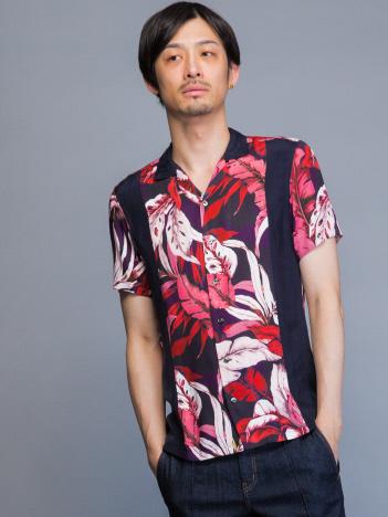 フラワープリントボウリングアロハシャツ