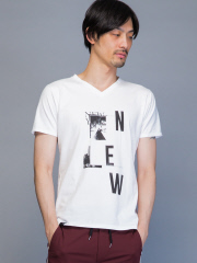 5351POUR LES HOMMES - ビルディングVネックTシャツ