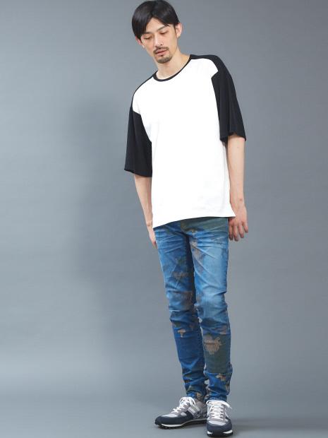 【WEB限定】パイル切り替えビッグシルエットTシャツ
