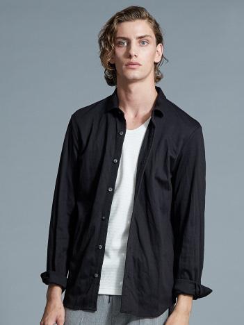ヘリンボーンジャージーシャツ
