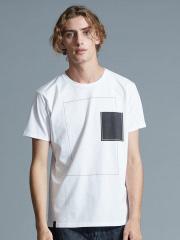 5351POUR LES HOMMES - ホワイトキャンバスクルーネックTシャツ