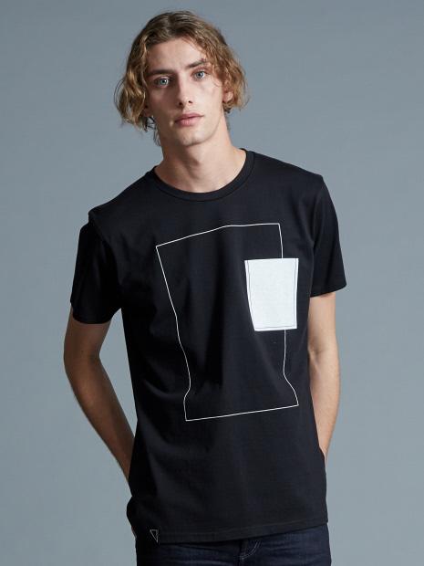 ホワイトキャンバスクルーネックTシャツ
