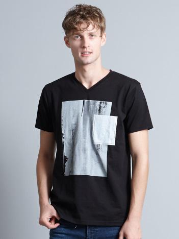 ホワイトキャンバスVネックTシャツ