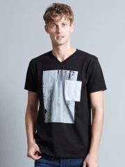 5351POUR LES HOMMES - ホワイトキャンバスVネックTシャツ