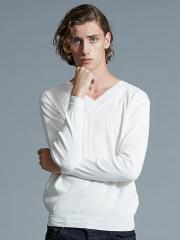 """5351POUR LES HOMMES - """"SOFFY""""シルケットコットンVネックニットTシャツ"""