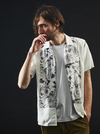 【モノクロフローラル】半袖 アロハシャツ