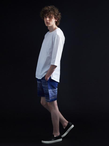 サイドZIP 異素材 七部 Tシャツ