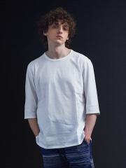 5351POUR LES HOMMES - サイドZIP 異素材 七部 Tシャツ