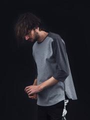 5351POUR LES HOMMES - サイドZIP 異素材 七部 Tシャツ【予約】