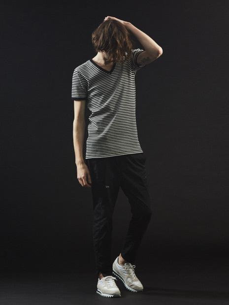ベアワッフル ボーダー Vネック 半袖 Tシャツ