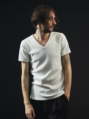 5351プール・オム ベアワッフル ボーダー Vネック 半袖 Tシャツ