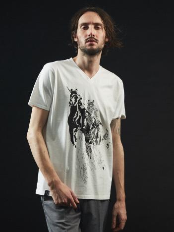 【ユニコーン】プリント Vネック Tシャツ