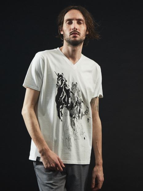 【ユニコーン】プリント Vネック Tシャツ【予約】