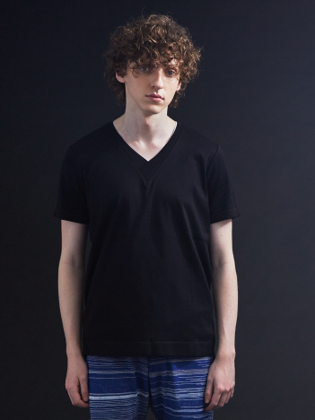 5351POUR LES HOMMES - シルケットコットンVネックTシャツ