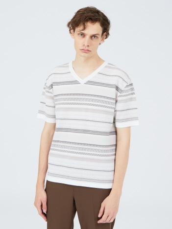 5351POUR LES HOMMES - リンクスジオメトリック ジャガード ニットTシャツ