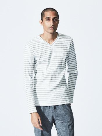 5351POUR LES HOMMES - 【20AW】ランダムテレコボーダー VネックロングTシャツ