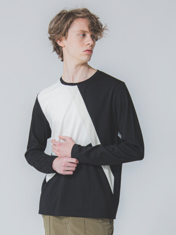 5351POUR LES HOMMES - モノトーン カラーブロック ロング Tシャツ