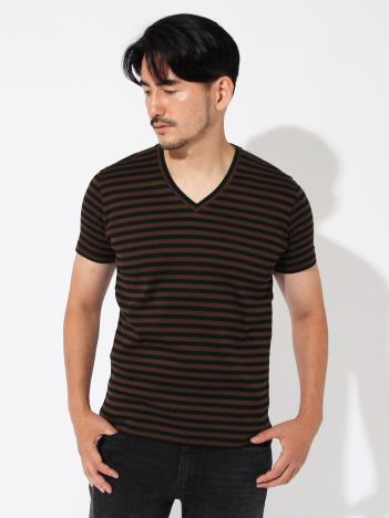 DESIGNWORKS (MEN'S) - 針抜きフライスボーダーVネックTシャツ