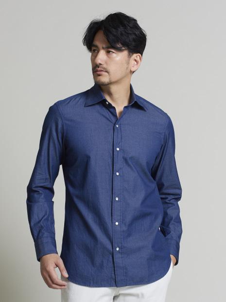 インディゴツイルセミワイドシャツ