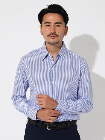 DESIGNWORKS (MEN'S) - リネン混ストライプセミワイドシャツ