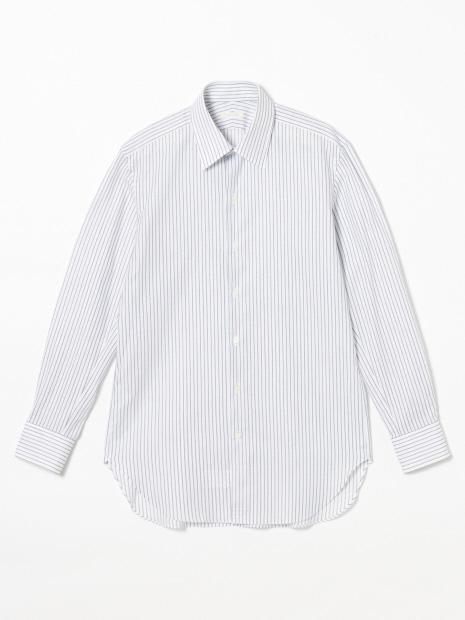 先染めカラミストライプセミワイドシャツ