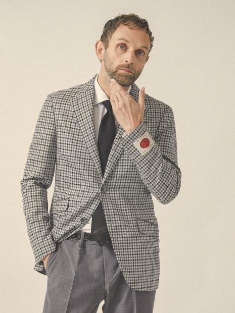 【ENGLAND/MARLING&EVANCE】ウール/シルクチェックジャケット