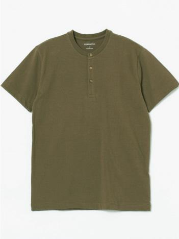 甘撚度詰天竺ヘンリーネックTシャツ