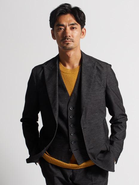 【セットアップ対応】デニムライクベロアストレッチジャケット