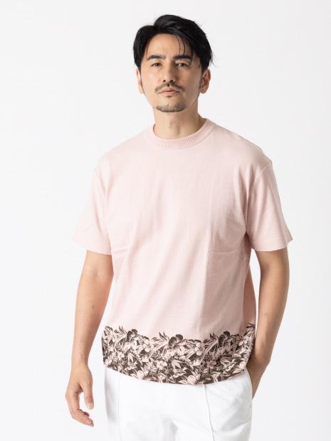 【フラワープリント】ニットT半袖