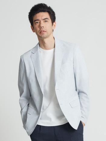 【リネン調プリント】メッシュストレッチパッカブルジャケット
