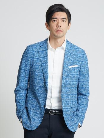 【グレンチェックプリント】メッシュストレッチパッカブルジャケット