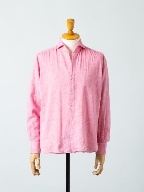 【ORIAN】綿麻シャンブレー スキッパーシャツ