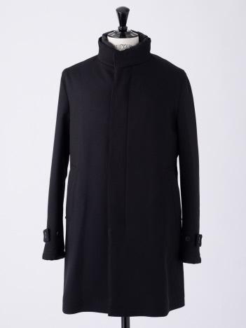 ダウンレイヤー ウール調スタンド襟コート