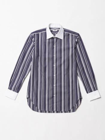 ストライプクレリックシャツ(ネイビーカラー)