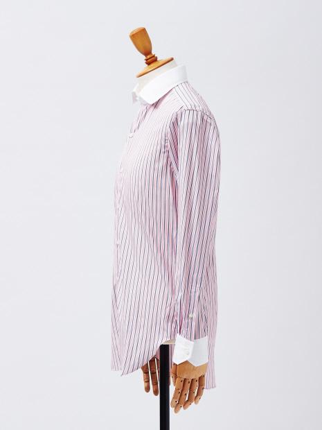 マルチストライプクレリックシャツ(ピンクカラー)