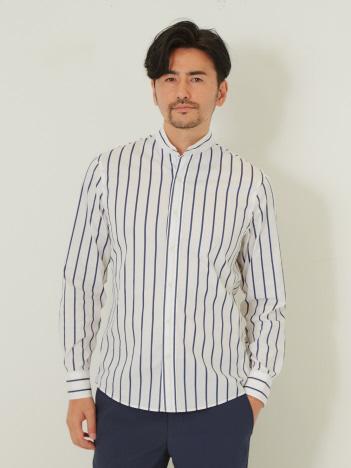 DESIGNWORKS (MEN'S) - ストレッチストライプ スタンドカラーシャツ