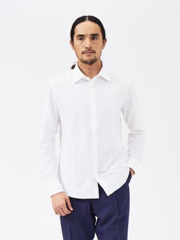 ハイゲージサッカーストライプシャツ(白・グレー・ネイビー)