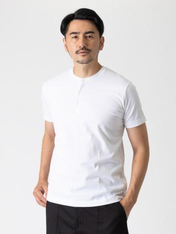 甘撚度詰天竺 20/-ヘンリーネックTシャツ