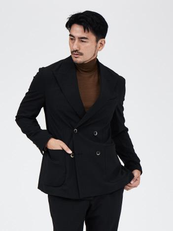 【セットアップ対応】ウール調 ダブルブレスト ジャケット (黒)