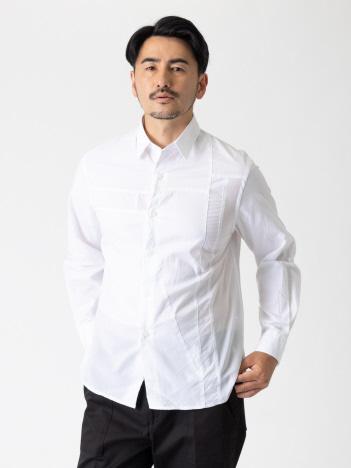 パッチワークパターン 長袖 シャツ
