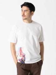 フランス風景デザイン サイドプリント Tシャツ
