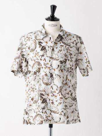 Finamore / フィナモレ BART プリント 半袖 オープンカラーシャツ